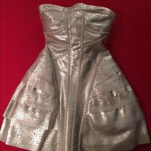 Fun silver leather Herve Leger Runway dress!