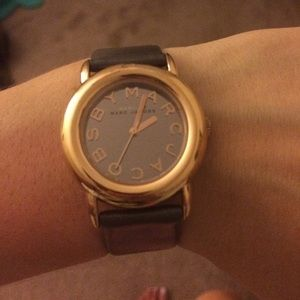 Marc Jacobs rose gold and grey leather band watch