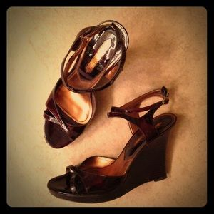 Enzo Angiolini Brown Patent Strapy Wedge Heels