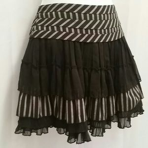 Forever 21 Dresses & Skirts - Black & Grey Stripes Ruffles Mini Skirt