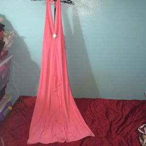 Dresses & Skirts - Peach Halter Dress with front Ruffles