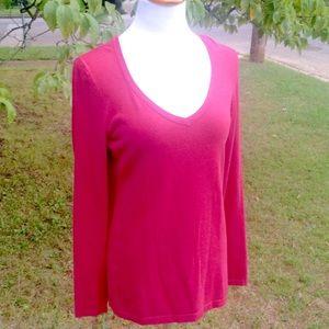 Brilliant Dark Pink, CAbi Sweater; Sz. Lg.