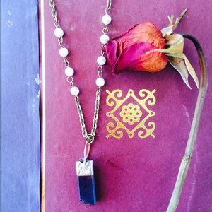 "Jewelry - 30"" raw Crystal point necklace"