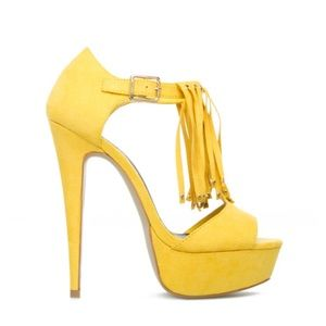 Shoedazzle scene fringe yellow heels 8