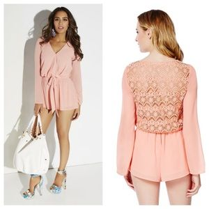 Double zero lace back romper M NWOT