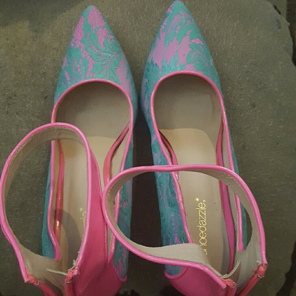 88 shoe dazzle shoes teal and pink heels from