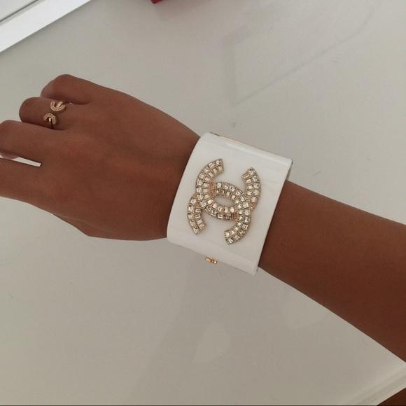 Chanel Cc Logo Chanel White Acrylic Cuff Bracelet