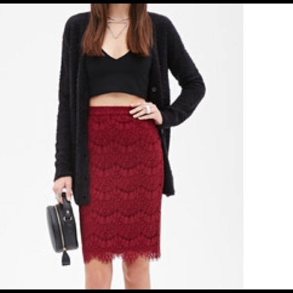 36% off Forever 21 Dresses & Skirts - Forever 21 burgundy lace ...