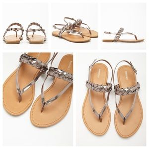 Forever 21 Shoes - Forever 21 pewter braided metallic thong sandals