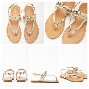 Forever 21 Shoes - Forever 21 metallic gold braided thong sandals