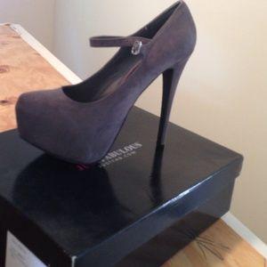 Gray suede platform heels
