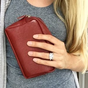 Red leather cosmetic bag