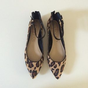 Sole Society Shoes - Sold Society Leopard Ankle Strap Flats