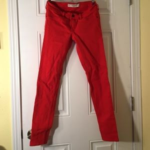 Abercrombie and Fitch Red Skinny Jeans