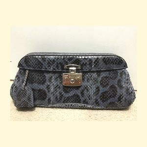 Authentic Gucci exotic clutch in blue Python