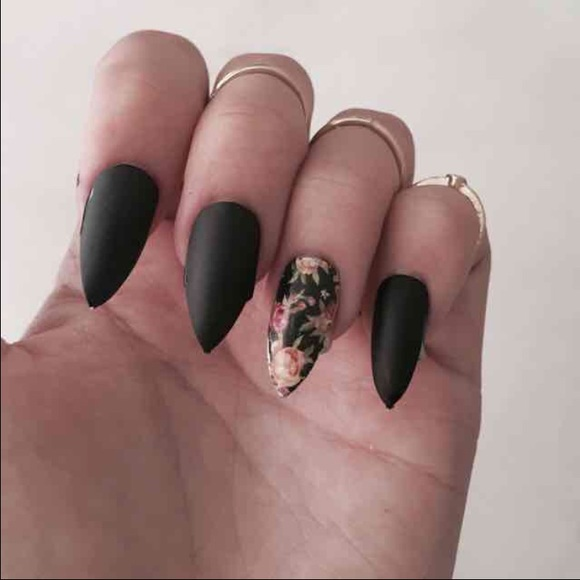 Brandy Melville Accessories | Matte Black Stiletto With Floral Nail ...