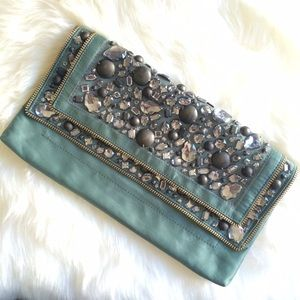 FINAL PRICE J.Crew Teal Satin Beaded Clutch