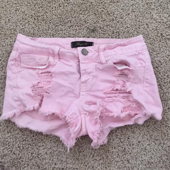 Pants - pink ripped shorts