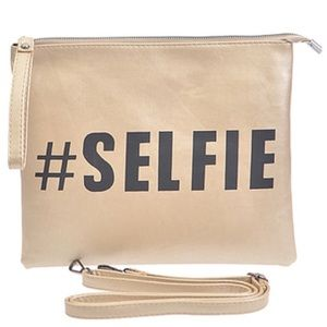 Handbags - Gold Selfie Clutch Handbag with Wrist Strap