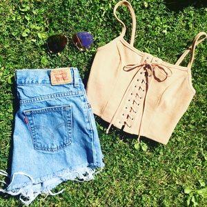 Denim - Handmade high waisted shorts