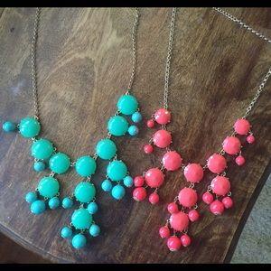 Bundle of Coral & Teal bib necklaces