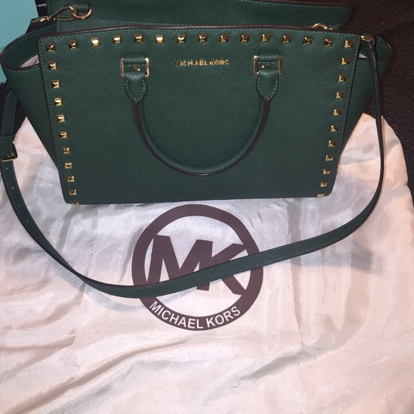 33418e64060c Michael kors large studded Selma in hunter green.  M 55c018a60e6176146b01bc10. Other Bags ...