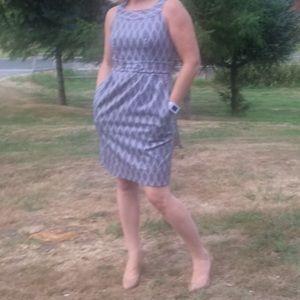 Gray & cream dress