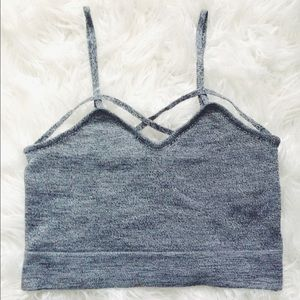 Heather grey criss cross crop top