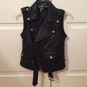 Juicy Couture Genuine Leather Motor Jacket Blazer