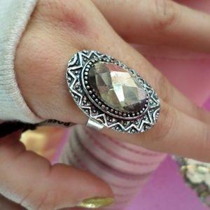 Bling Gemstone Silver Cocktail ring!!