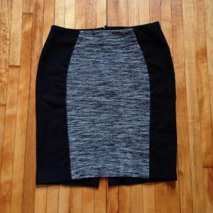 H&M Black and White Tweed Panel Pencil Skirt