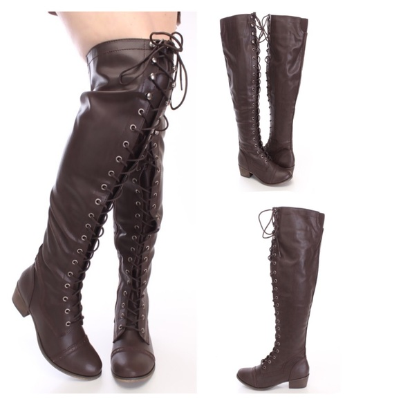 39% off Breckelles Boots - Brown lace up thigh high riding combat ...