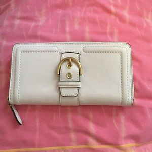 White Coach Wallet with Buckle
