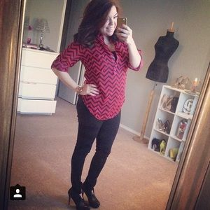 Tops - Red & Black Chevron Top