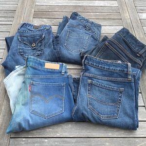 5 Pairs Jeans Lucky Lola DKNY Levi's Bullhead 0