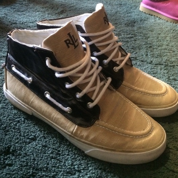 Tan And Brown Polo Hi Top Boat Shoes