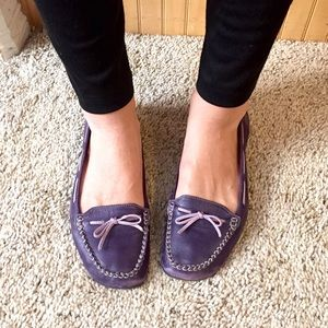 Purple Leather Flats