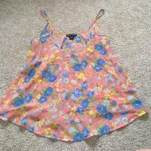 Tops - Cute floral chiffon tank top!