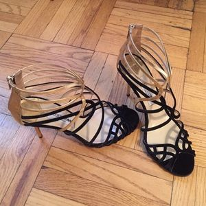 Jimmy Choo Melvin black and gold sandal