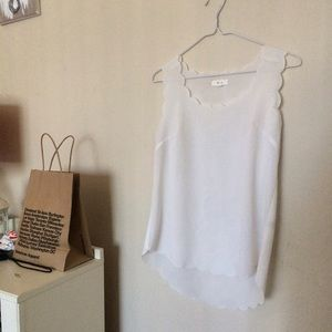 White Scalloped Tank Top // Size Small