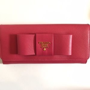 Authentic Prada pink bowy wallet