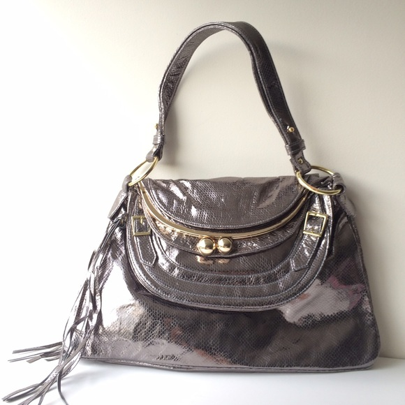 Bulga Handbags - Bulga Metallic Leather 'Garcon' Large Shoulder Bag