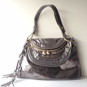 Bulga Metallic Leather 'Garcon' Large Shoulder Bag
