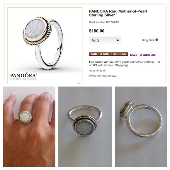 Pandora Mother Of Pearl Earrings: Mother Of Pearl Sterling Silver 14K Ring