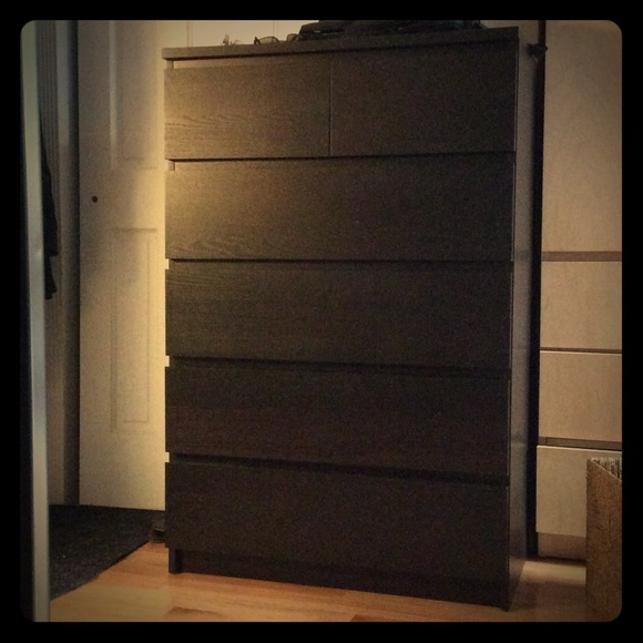 Ikea Malm 6 Drawer Dresser Bureau Black Color Nwt