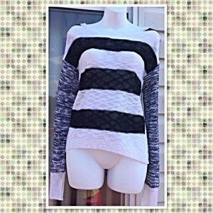Black & White Crop Sweater