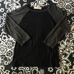 grey & black 3/4 sleeve juicy couture baseball tee