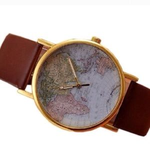 World map watch brown black dark gold leather faux
