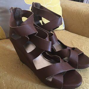 Elle Shoes - Brown ELLE Strap Wedges