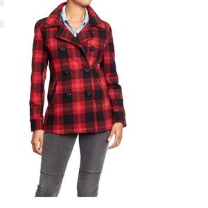 New Old Navy Plaid Peacoat XS